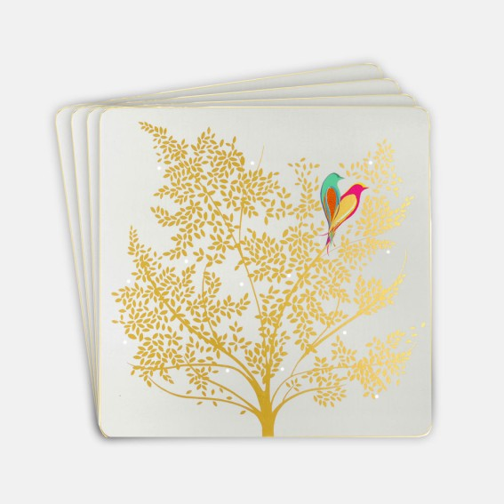 Pale Grey Lovebirds Square Placemats - Set of 4