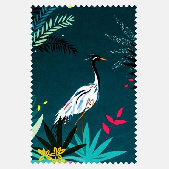 Heron Teal Velvet Fabric SAMPLE