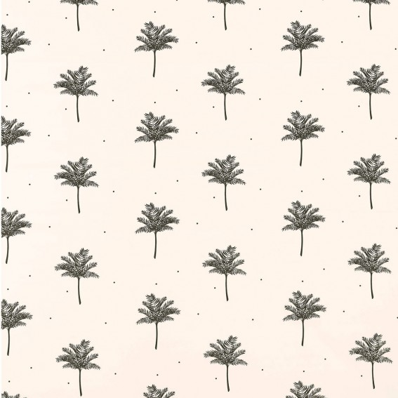 Tropical Palm Oyster Sateen Fabric