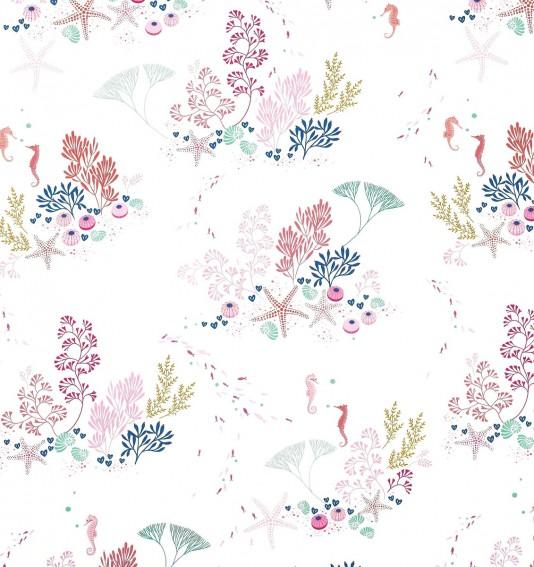 Underwater White Sateen Fabric