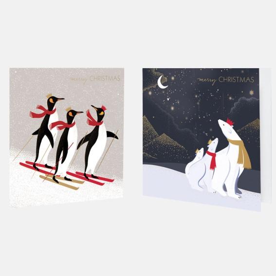 Polar Bears & Penguins Christmas Card Assortment - Pack of 10