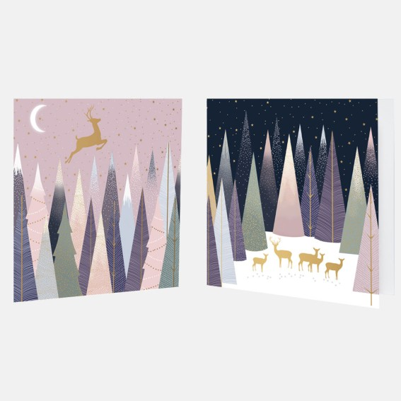 Frosted Pines Deer Christmas Card Assortment - Pack of 10