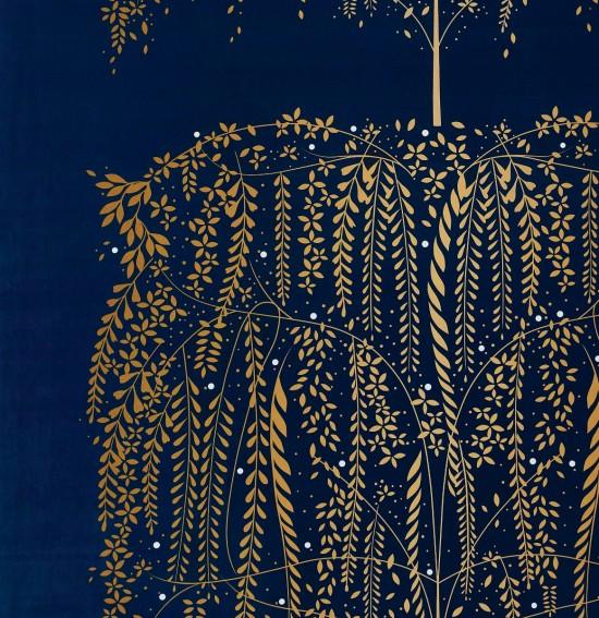 Willow Tree Navy Velvet Fabric