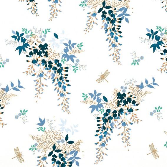 Wisteria White Sateen Fabric