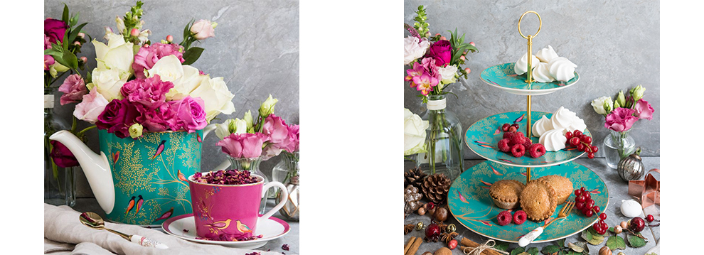On the left, the Chelsea Collection tea pot featuring our signature Green Birds design. On the right is our three tier cake stand in a lavish afternoon tea setting
