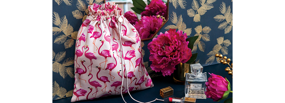 Flamingo silk travel bag
